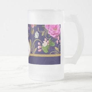 Monogram Pink Flowers Frosted Glass Beer Mug