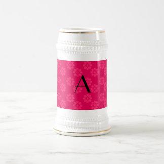 Monogram pink flowers pattern coffee mugs