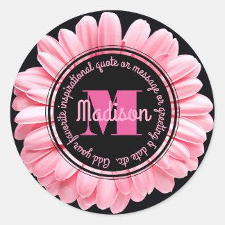 Monogram Pink Gerbera Add Your Own Message Flower Classic Round Sticker