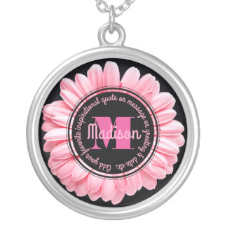 Monogram Pink Gerbera Add Your Own Message Flower Silver Plated Necklace