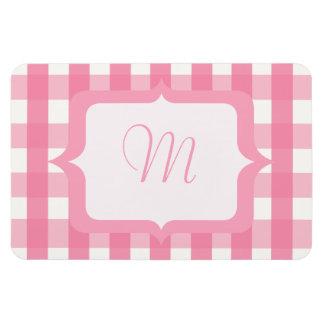 Monogram Pink Gingham Magnet