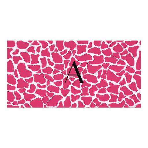Monogram pink giraffe print customized photo card