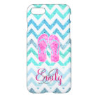 Monogram Pink Glitter Flip Flops Teal Aqua Chevron iPhone 8/7 Case