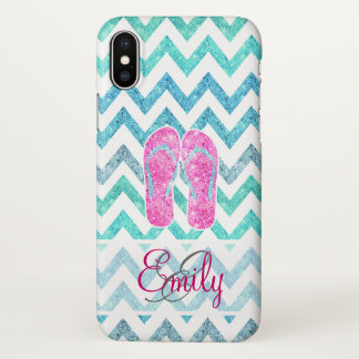 Monogram Pink Glitter Flip Flops Teal Aqua Chevron iPhone X Case