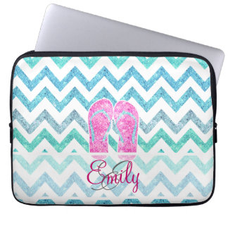 Monogram Pink Glitter Flip Flops Teal Aqua Chevron Laptop Sleeve