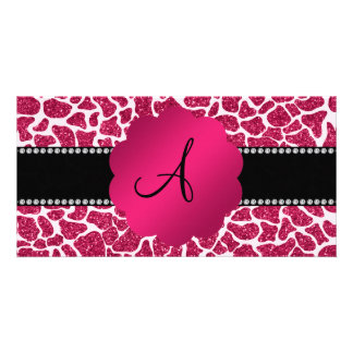 Monogram pink glitter giraffe print customized photo card