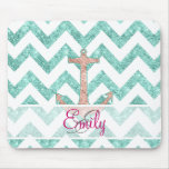 Monogram Pink Glitter Nautical Anchor Teal Chevron Mouse Pad
