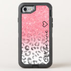 Monogram pink gold glitter leopard watercolor OtterBox defender iPhone 8/7 case