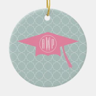 Monogram Pink Graduation Hat + Quatrefoil Round Ceramic Ornament