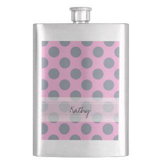 Monogram Pink Gray Chic Polka Dot Pattern Flask