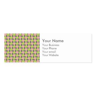 Monogram Pink Green Geometric Ikat Square Pattern Mini Business Card