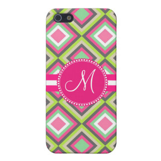 Monogram Pink Green Gray Diamonds Square Pattern Cover For iPhone 5/5S