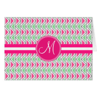 Monogram Pink Green Gray Triangle Tribal Pattern Card