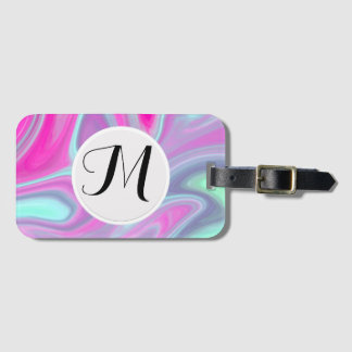 Monogram Pink Green Watercolor Abstract Fine Luggage Tag