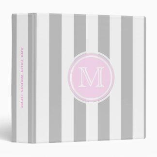 Monogram: Pink Grey And White Striped Binder