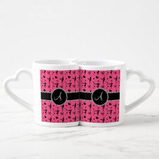 Monogram pink gymnastics hearts bows lovers mug sets