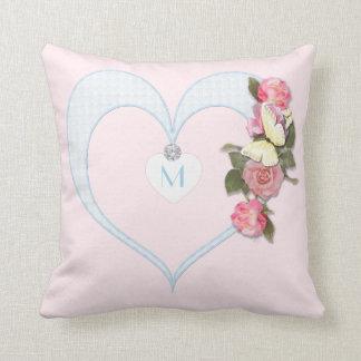 Monogram Pink, Heart,Flowers, Butterfly - Diamond Throw Pillow