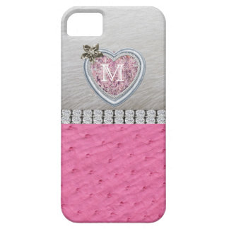 Monogram, Pink, Heart, Ostrich Skin iPhone 5 Cases