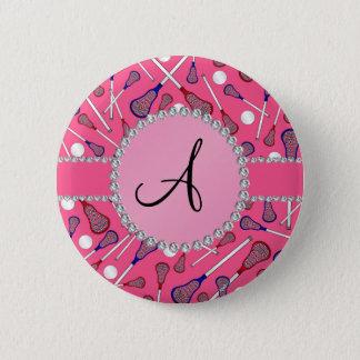 Monogram pink lacrosse pattern 2 inch round button