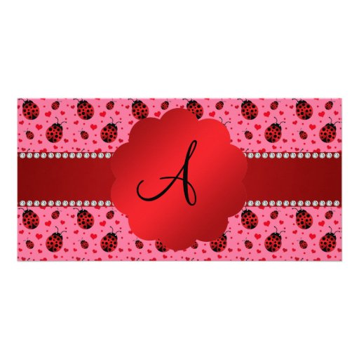 Monogram pink ladybugs hearts photo greeting card