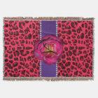 Monogram pink leopard  pink rose purple stripe throw blanket