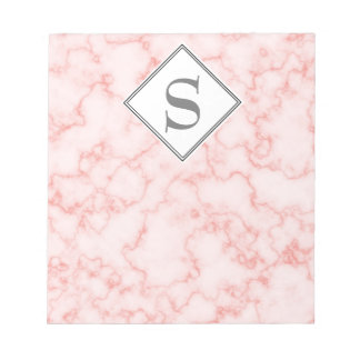Monogram Pink Marble Gray Text Notepad
