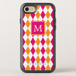 Monogram | Pink & Orange Argyle OtterBox Symmetry iPhone 7 Case