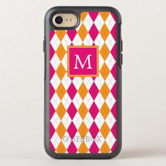 Monogram | Pink & Orange Argyle OtterBox Symmetry iPhone 8/7 Case