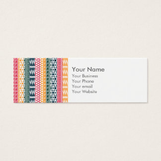Monogram Pink Orange Blue Geo Aztec Tribal Pattern Mini Business Card