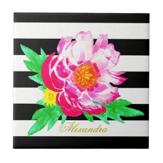 Monogram Pink Peony Black & White Ceramic Tile