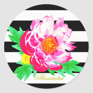 Monogram Pink Peony on Black & White Round Sticker
