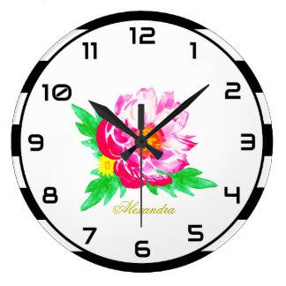 Monogram Pink Peony on Black & White Wall Clock