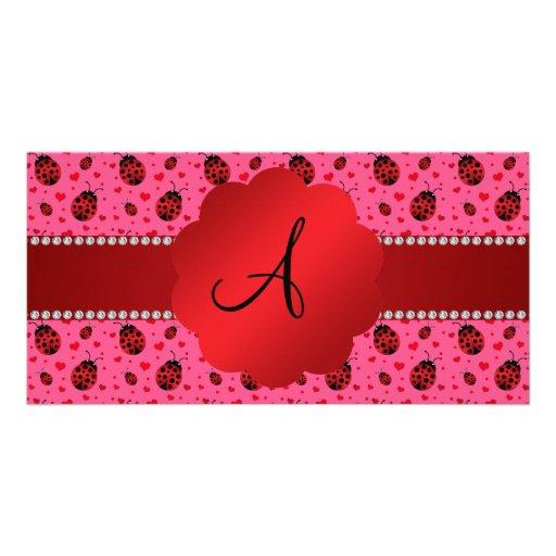Monogram pink red ladybugs hearts pattern photo greeting card