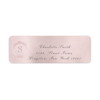 Monogram Pink Rose Bridal Wreath Blush RSVP