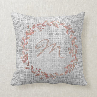 Monogram Pink Rose Gold Silver Wreath Sequin Throw Pillow