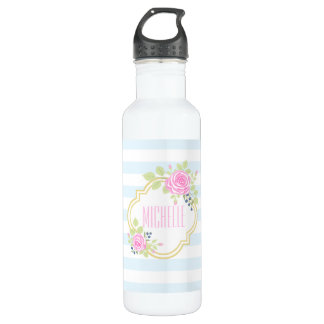 Monogram Pink Roses Blueberry Water Bottle (24 oz)