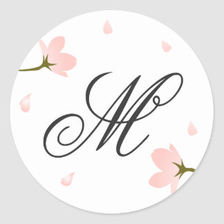 Monogram Pink Sakura Cherry Blossoms Sticker