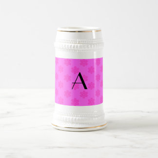 monogram pink snowflakes coffee mug