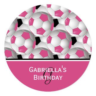 "Monogram Pink Soccer Ball Pattern Birthday Party 5.25"" Square Invitation Card"