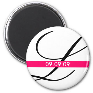 Monogram Pink Stripe Save the Date Magnet