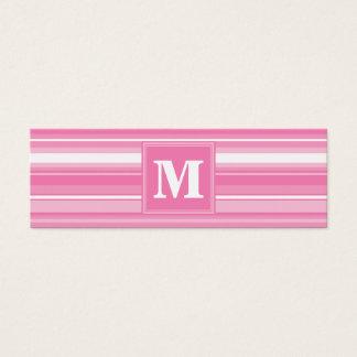 Monogram pink stripes mini business card