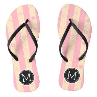 Monogram Pink Stripes Modern Heart Pattern Flip Flops