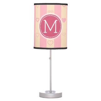 Monogram Pink Stripes Modern Heart Pattern Table Lamp