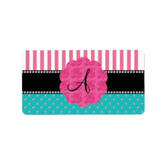 Monogram pink stripes turquoise diamonds label