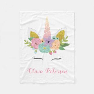 Monogram Pink Unicorn Girl Gift | Baby Blanket