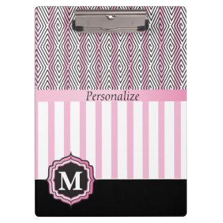Monogram Pink, White and Black Stylish Clipboard
