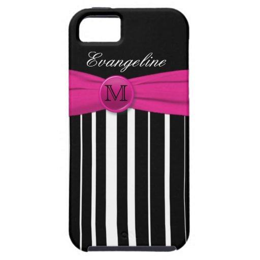 Monogram Pink White Black Striped iPhone 5 Case