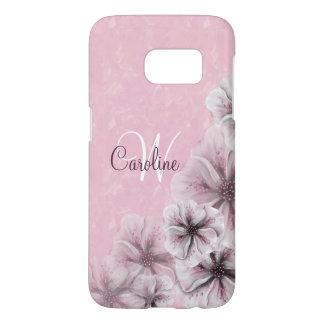 Monogram Pink White Flowers Samsung Galaxy S7 Case