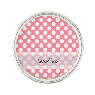 Monogram Pink White Trendy Fun Polka Dot Pattern Lapel Pin