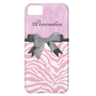 Monogram, Pink Zebra Print, iPhone 5/5C Case